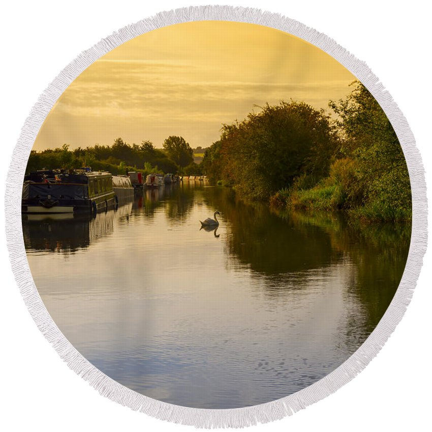 Grand Union Round Beach Towel featuring the photograph Grand Union Canal In Berkhampsted by Louise Heusinkveld