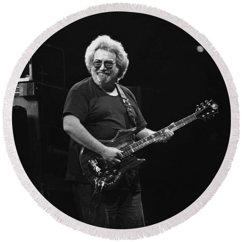 Jerry Garcia Round Beach Towel featuring the photograph Grateful Dead - Jerry Garcia by Concert Photos