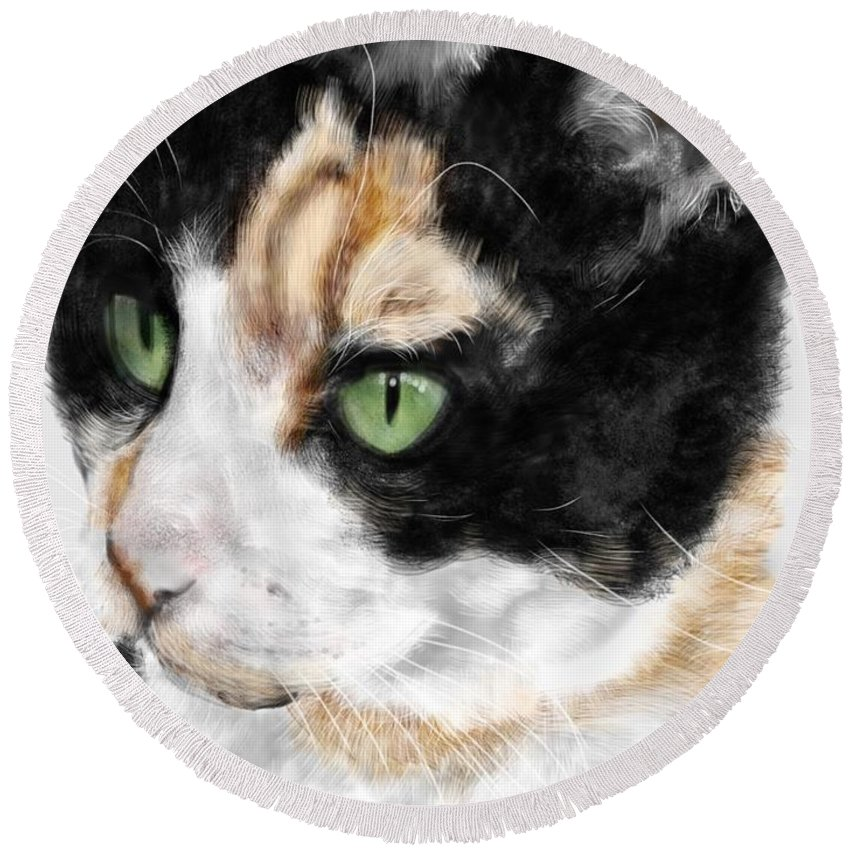Cat Round Beach Towel featuring the painting Green Eyed Cat by Lois Ivancin Tavaf