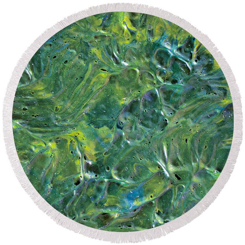 Tree Round Beach Towel featuring the painting Leaves In The Wind by Sean Corcoran
