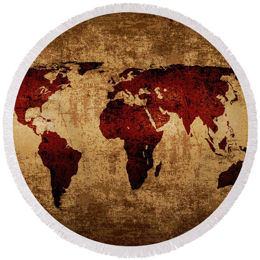 Grunge world map round beach towel for sale by steve ball world round beach towel featuring the digital art grunge world map by steve ball gumiabroncs Gallery
