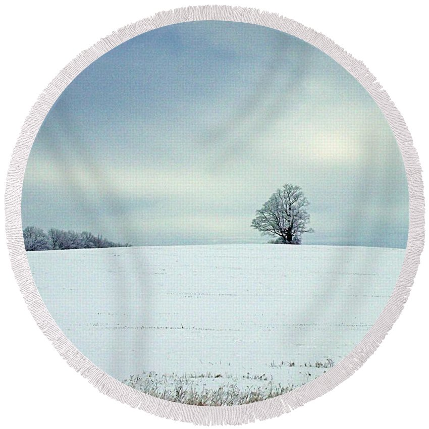 Winter Round Beach Towel featuring the photograph Guardian by Christian Mattison
