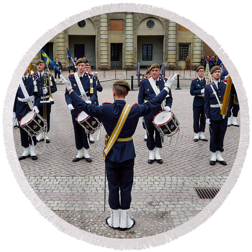 Finland Round Beach Towel featuring the photograph Guards Changing Shifts. Kungliga Slottet.gamla Stan. Stockholm 2 by Jouko Lehto