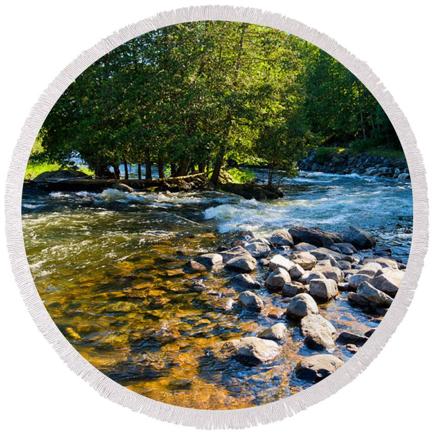 Gull Round Beach Towel featuring the photograph Gull River by Les Palenik