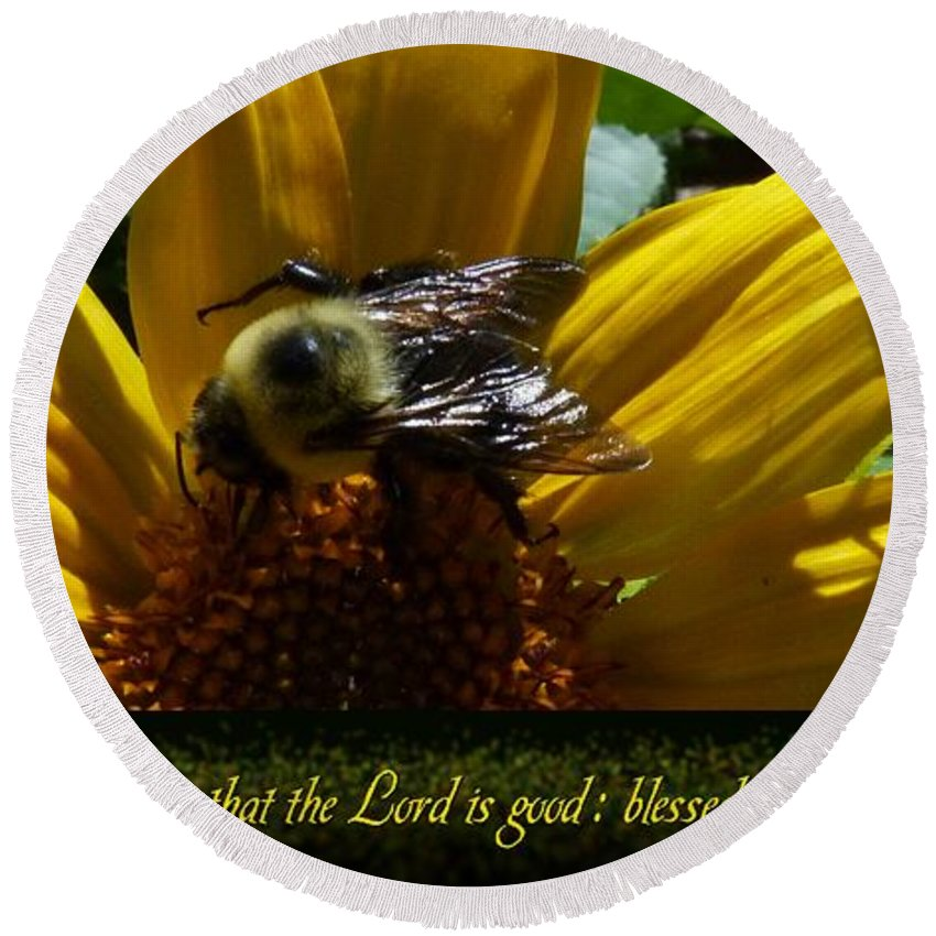 Bumble Bees Round Beach Towel featuring the photograph 1 H O Taste And See by Dale Crum
