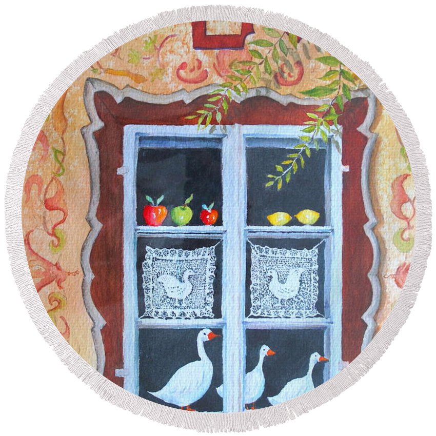Austria Round Beach Towel featuring the painting Halstatt Window by Mary Ellen Mueller Legault