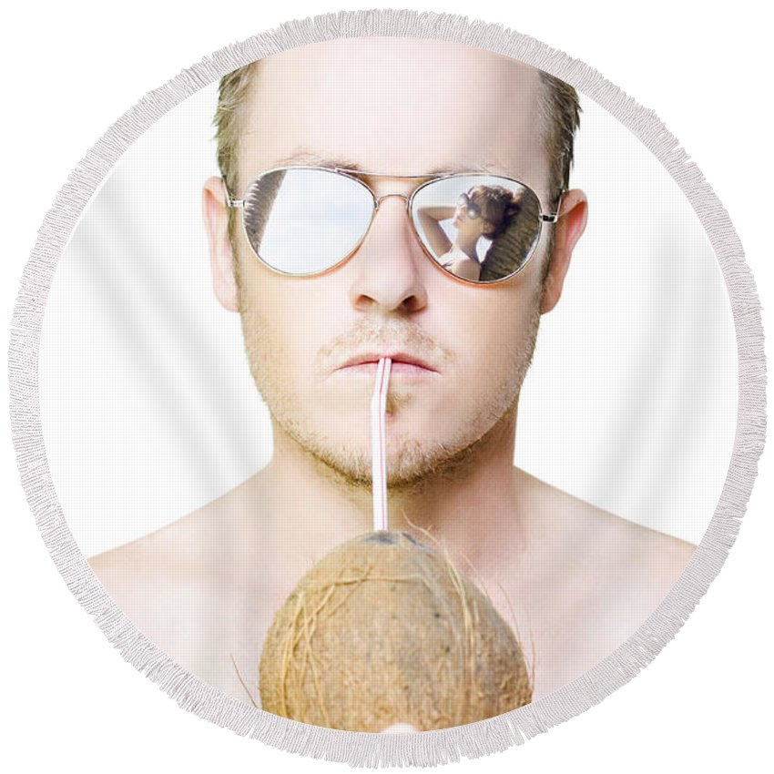 Alcohol Round Beach Towel featuring the photograph Handsome Summer Man Drinking Coconut Cocktail by Jorgo Photography - Wall Art Gallery