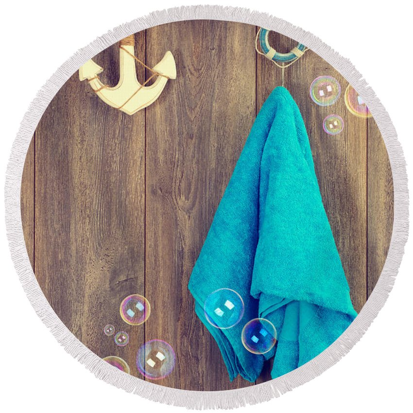 Towel Round Beach Towel featuring the photograph Hanging Towel by Amanda Elwell