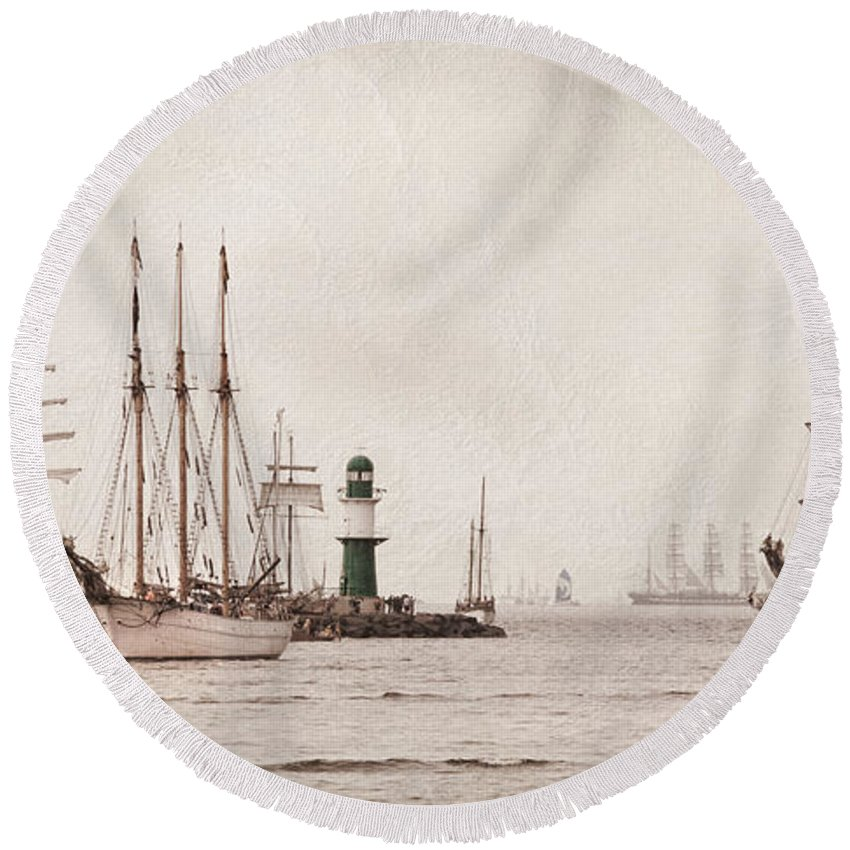 Ostsee Round Beach Towel featuring the pyrography Hanse Sail by Steffen Gierok
