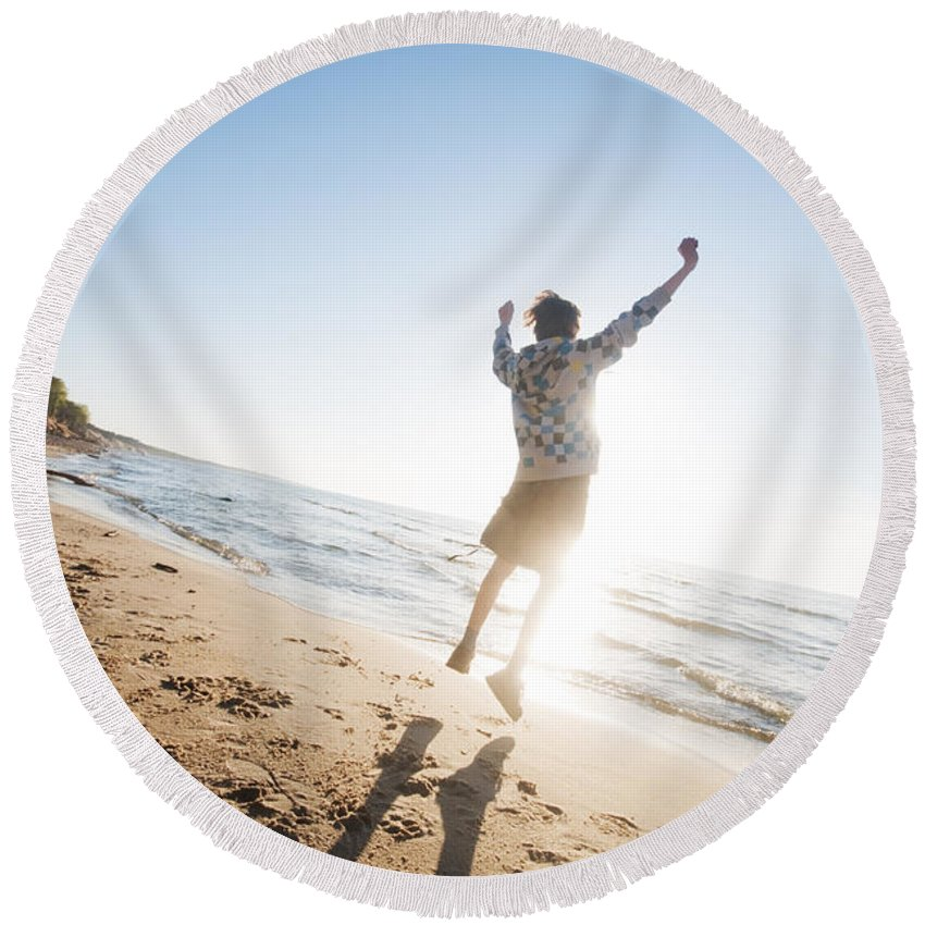 Beach Round Beach Towel featuring the photograph Happiness In The Beach Scenery by Michal Bednarek