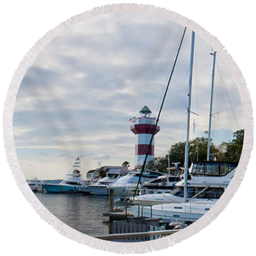 Hilton Head Round Beach Towel featuring the photograph Harbourtown Harbor by Thomas Marchessault