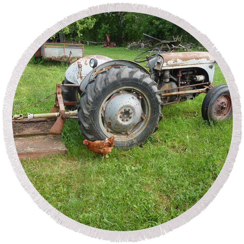 Tractor Round Beach Towel featuring the photograph Hard Days Work Farm Tractor by Diane Palmer