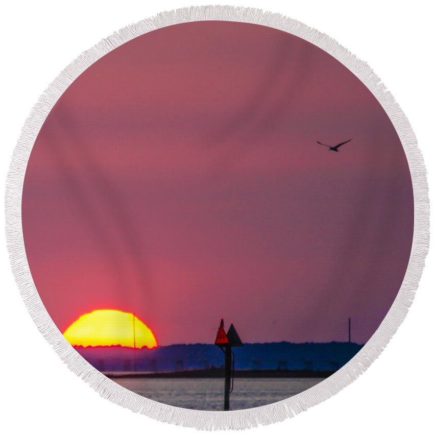 Harkers Island Round Beach Towel featuring the photograph Harkers Island Sunset by Paula OMalley