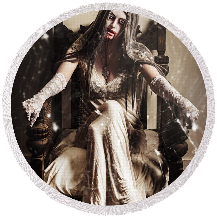 Evil Round Beach Towel featuring the photograph Haunting Horror Scene With A Strange Vampire Girl by Jorgo Photography - Wall Art Gallery