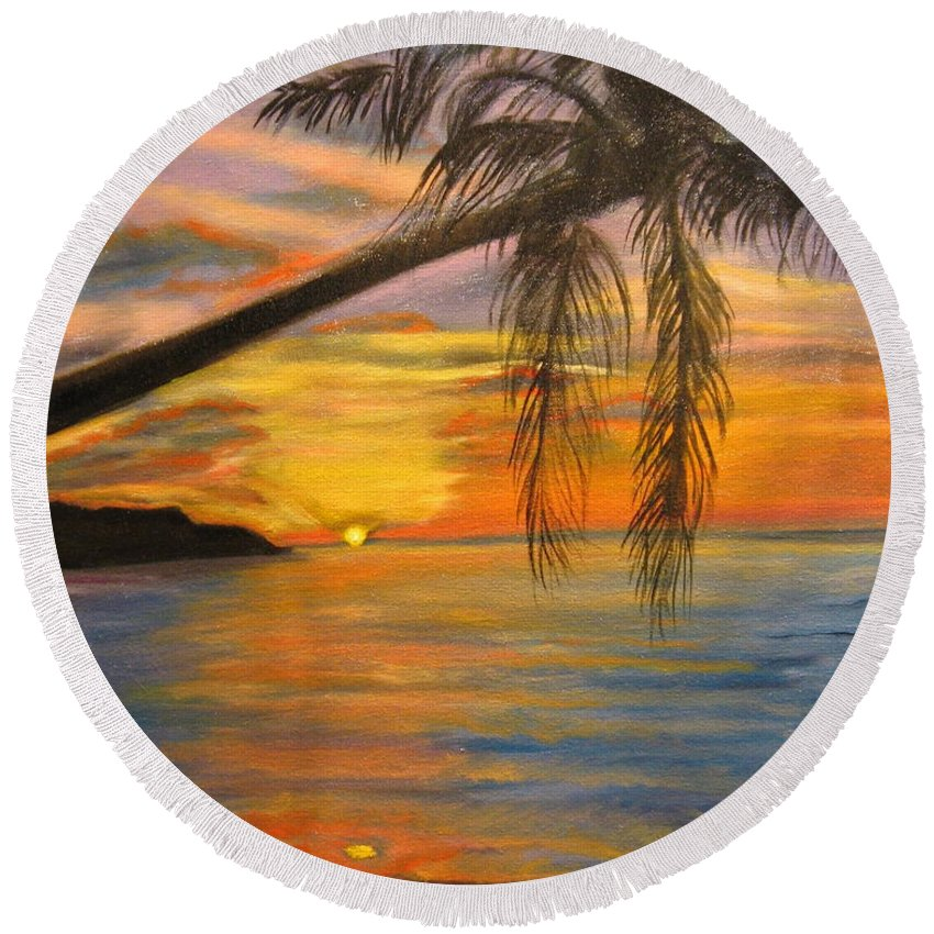 Beach Round Beach Towel featuring the painting Hawaiian Sunset 11 by Jenny Lee