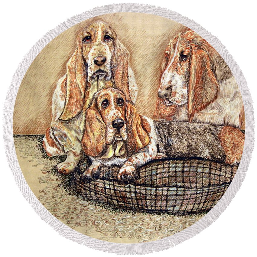 Basset Hound Round Beach Towel featuring the drawing Hess'er Puppies by Linda Simon