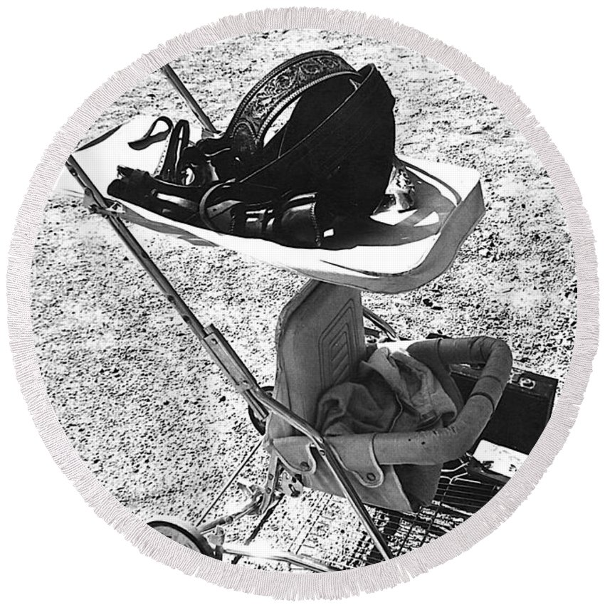 Holster Brief Case Baby Carriage Tombstone Arizona 1970 Round Beach Towel featuring the photograph Holster Brief Case Baby Carriage Tombstone Arizona 1970 by David Lee Guss