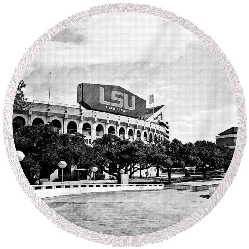 Lsu Round Beach Towel featuring the photograph Home Field Advantage - Bw Texture by Scott Pellegrin