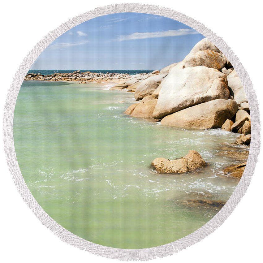 South Australia Round Beach Towel featuring the photograph Horseshoe Bay South Australia by Tim Hester