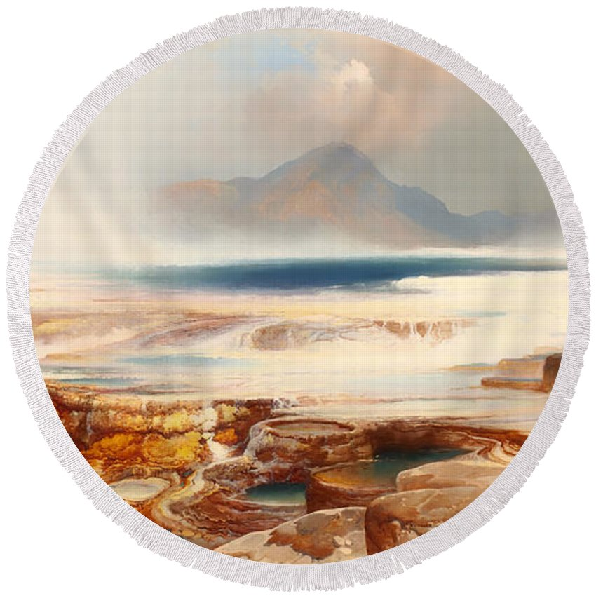 Painting Round Beach Towel featuring the painting Hot Springs Of Yellowstone by Mountain Dreams