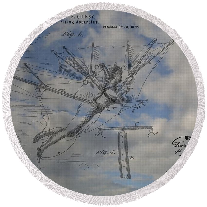 Quinby Flying Apparatus Patent Round Beach Towel featuring the mixed media Human Flight by Dan Sproul