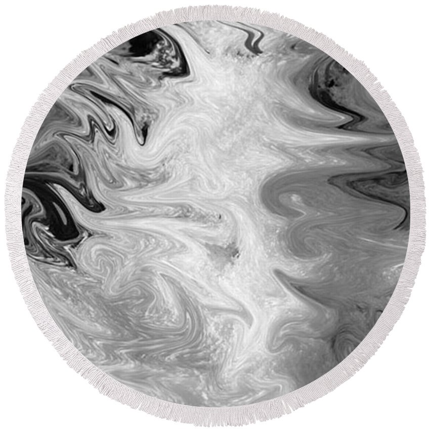 Ice Round Beach Towel featuring the digital art ICE by Carol Lynch