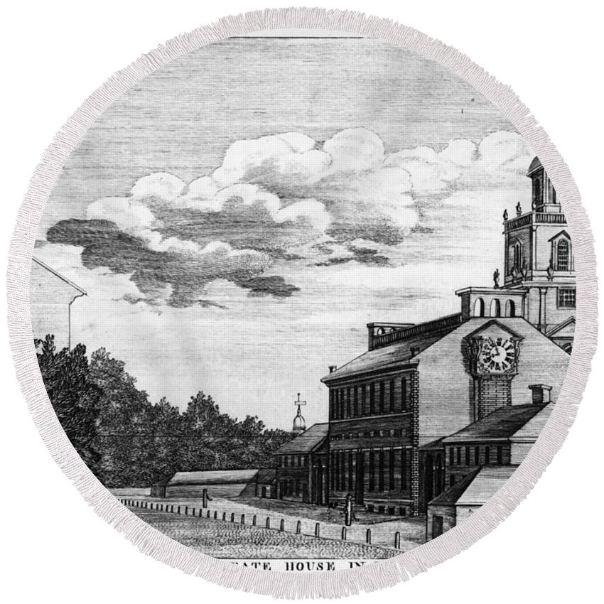 1778 Round Beach Towel featuring the photograph Independence Hall, 1778 by Granger