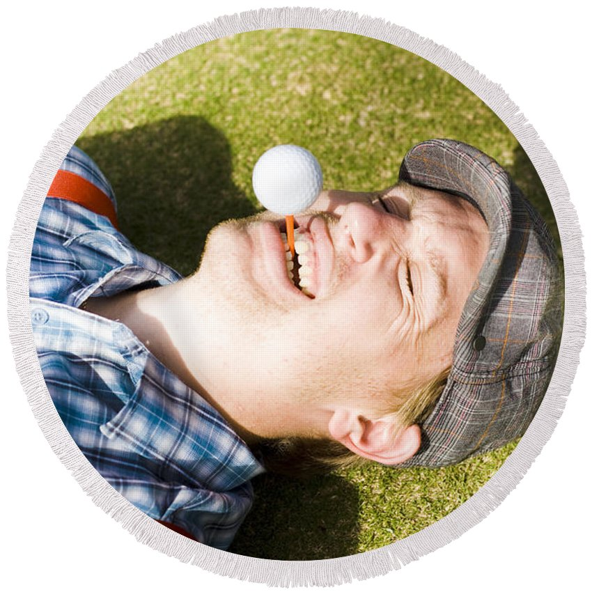 Positive Round Beach Towel featuring the photograph Insane Sport Nut Crazy About Golf by Jorgo Photography - Wall Art Gallery