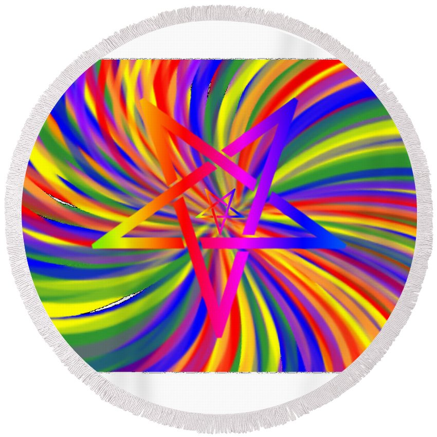 Inverted Round Beach Towel featuring the digital art Inverted Rainbow Spiral by Frederick Holiday