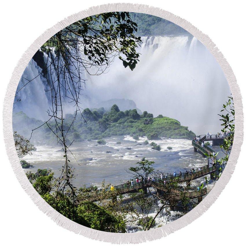 Iguazu Falls Round Beach Towel featuring the photograph Iquazu Falls - South America by Jon Berghoff