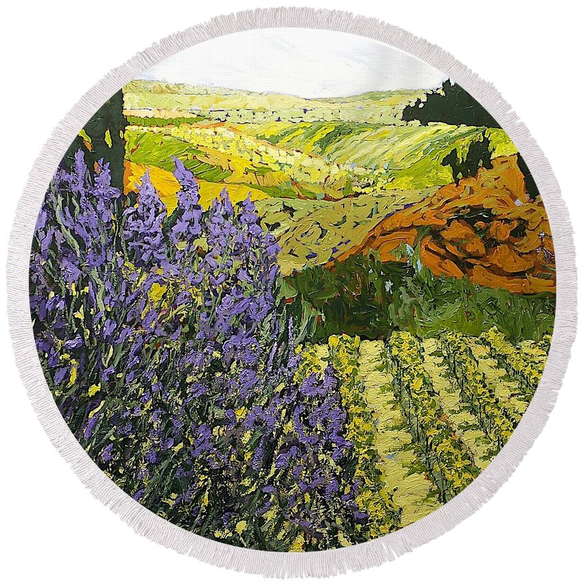 Landscape Round Beach Towel featuring the painting It Is Magic by Allan P Friedlander