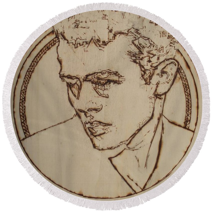 Pyrography;wood Burned;wood Burning;icon;legend;actor;americana;classic;hollywood;rebel;young Round Beach Towel featuring the pyrography James Dean by Sean Connolly