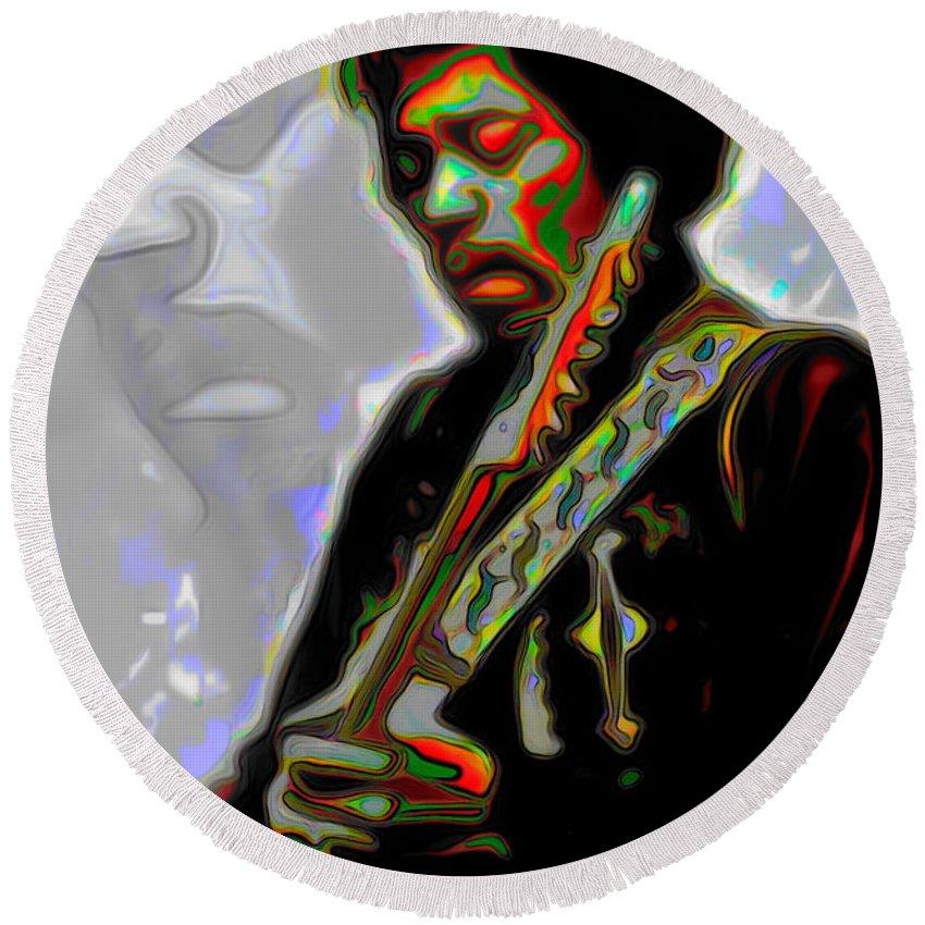 Jimi Hendrix; Jimi Hendrix Picture; Portrait Painting; Fine Art; Fine Art America; Fine Art Print; Figurative Art; Man; Modern Art; Music; Celebrity; Contemporary Art; Fli Round Beach Towel featuring the painting Jimi Hendrix by Fli Art