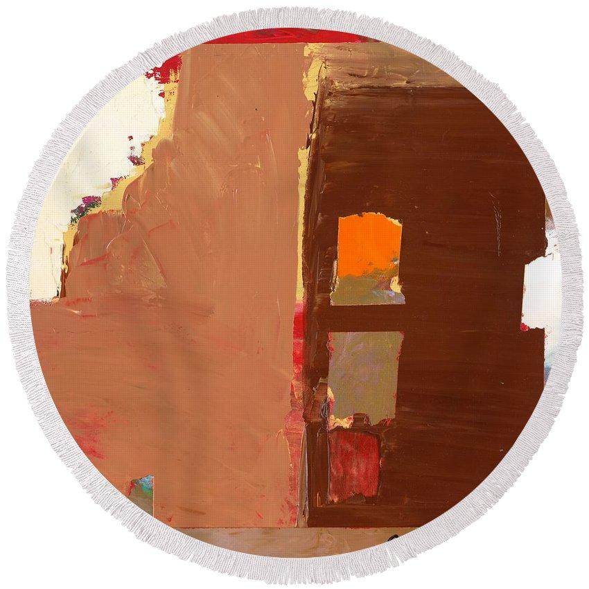 Landscape Round Beach Towel featuring the painting Jordan Park 512 by Allan P Friedlander