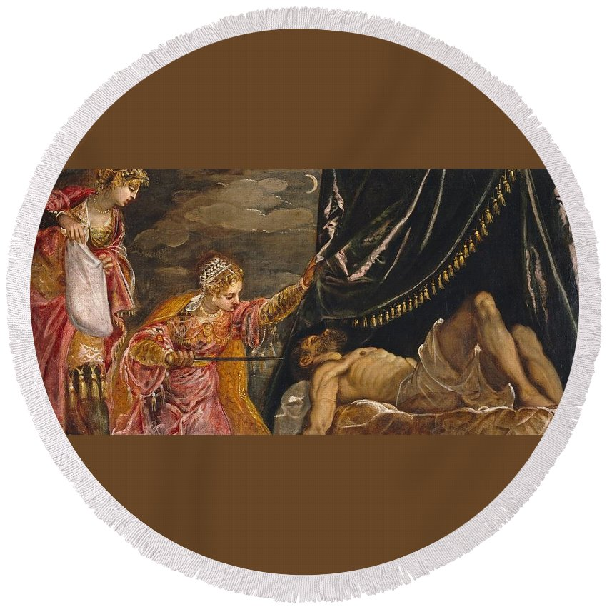1552-1555 Round Beach Towel featuring the painting Judith And Holofernes by Tintoretto