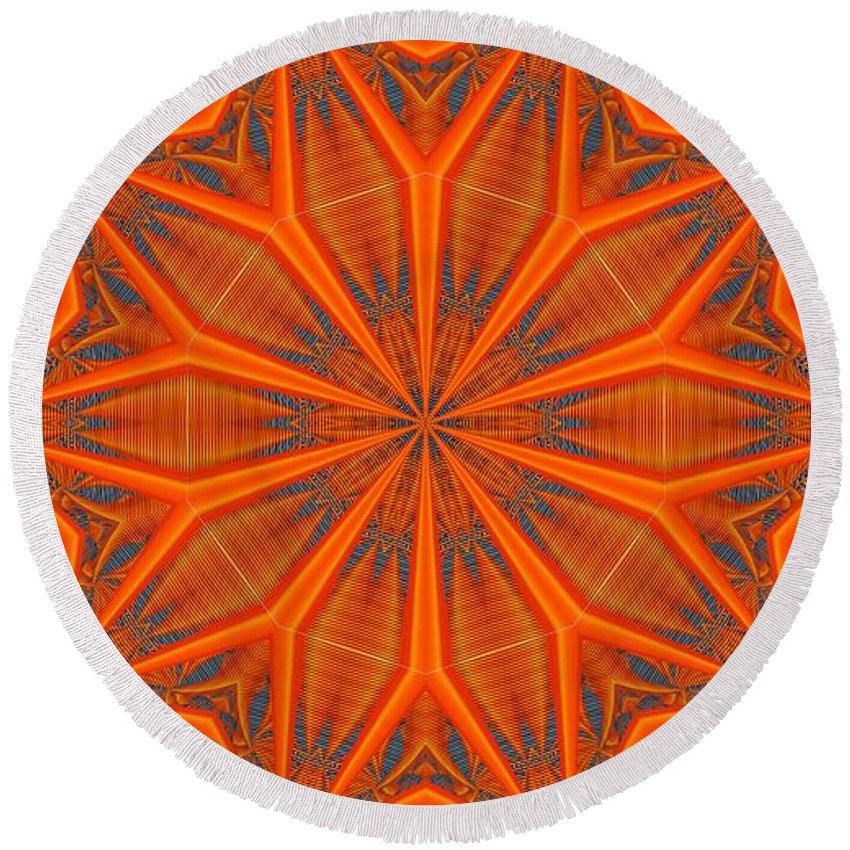 Kaleidoscope Round Beach Towel featuring the digital art Kaleidoscope 32 by Ron Bissett
