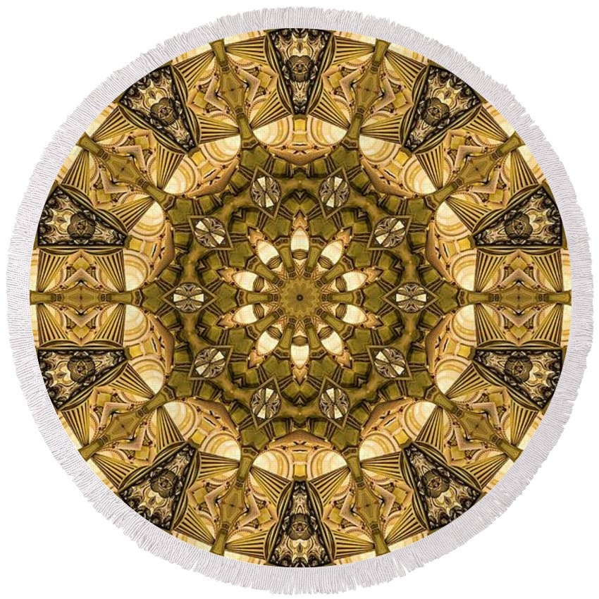 Kaleidoscope Round Beach Towel featuring the digital art Kaleidoscope 45 by Ron Bissett