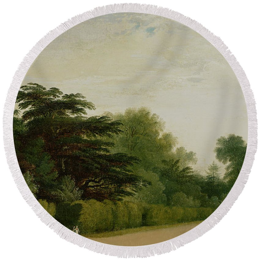 Kensington Gardens Round Beach Towel featuring the painting Kensington Gardens by John Martin