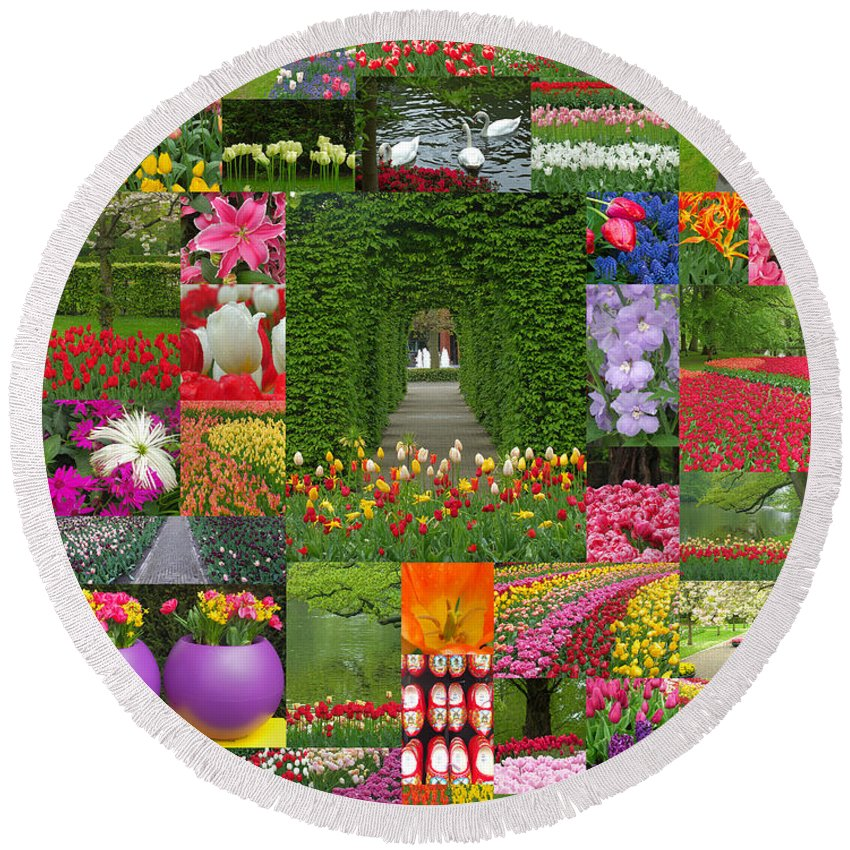 Garden Round Beach Towel featuring the photograph Keukenhof Gardens Collage by Mike Nellums