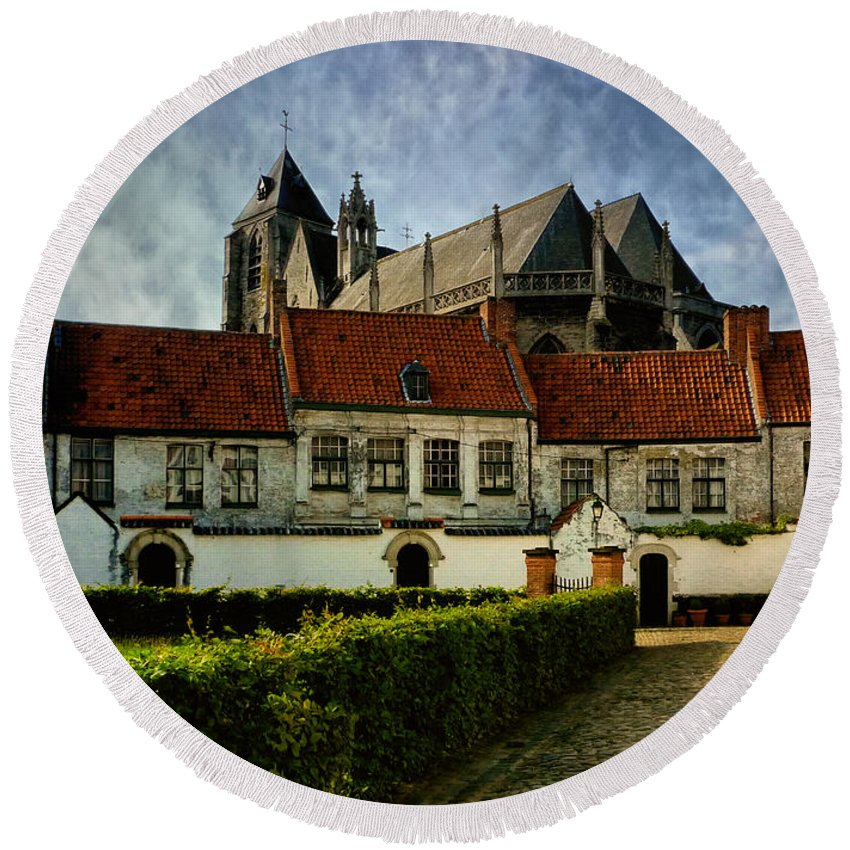 Abbey Round Beach Towel featuring the photograph Kortrijk by TouTouke A Y