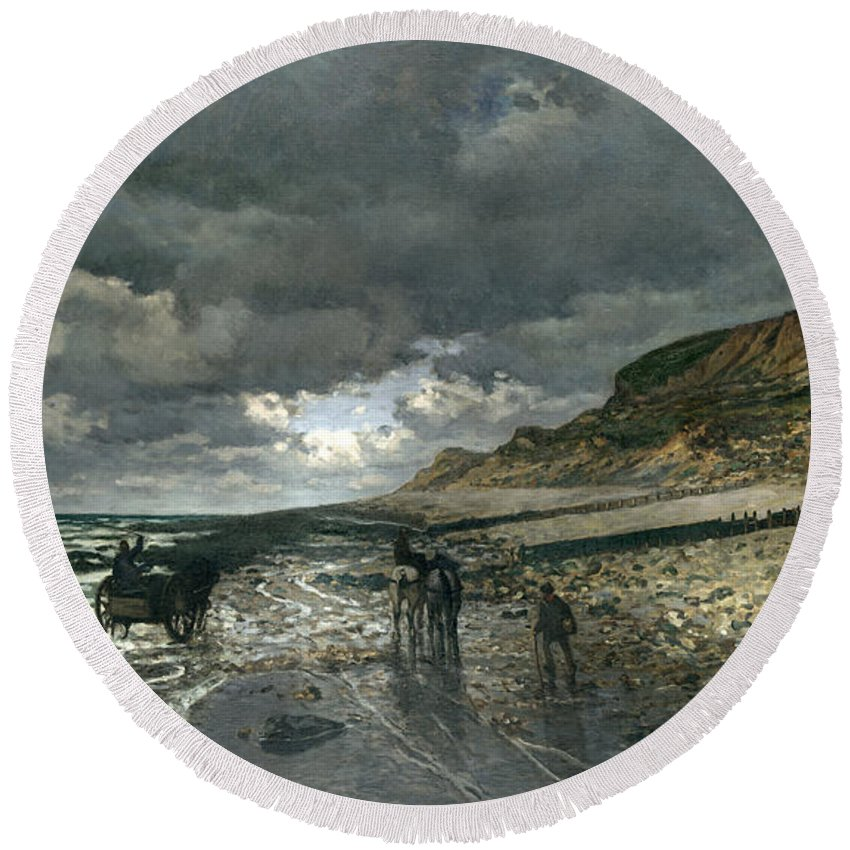 Claude Monet Round Beach Towel featuring the painting La Pointe De La Heve At Low Tide by Claude Monet