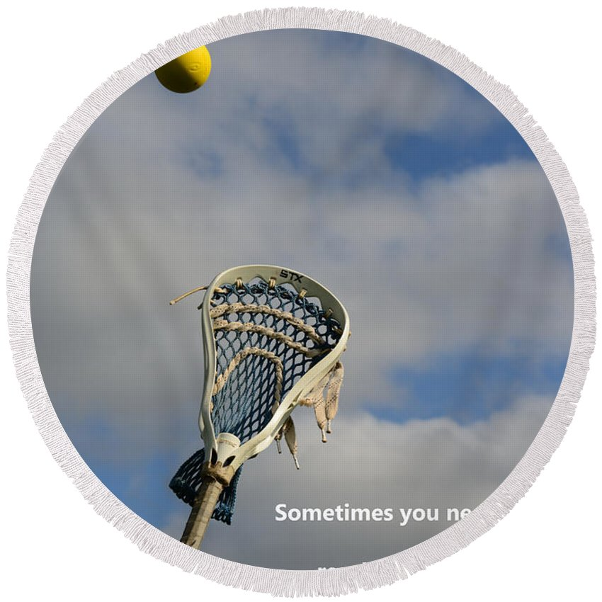 Paul Ward Round Beach Towel featuring the photograph Lacrosse Reach Higher by Paul Ward