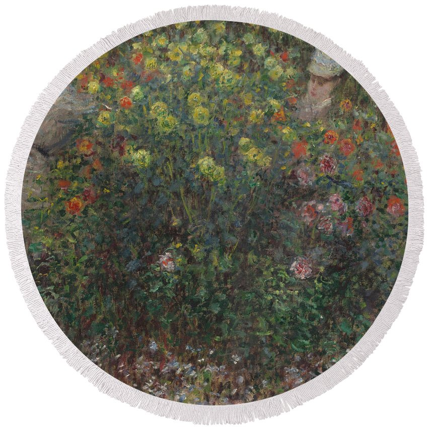 Claude Monet Round Beach Towel featuring the painting Ladies In Flowers by Claude Monet