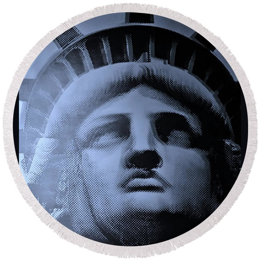 Statue Of Liberty Round Beach Towel featuring the photograph Lady Liberty In Cyan by Rob Hans