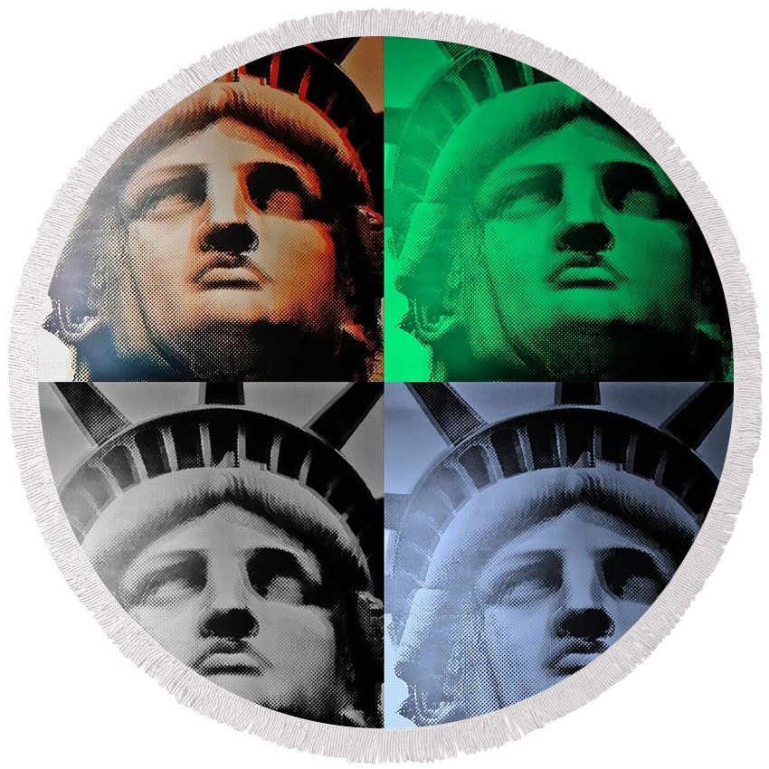 Statue Of Liberty Round Beach Towel featuring the photograph Lady Liberty In Quad Colors by Rob Hans