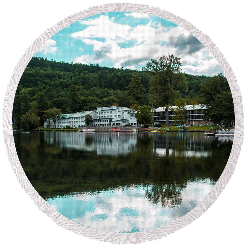 Reflection Round Beach Towel featuring the photograph Lake Morey Inn And Resort by Sherman Perry