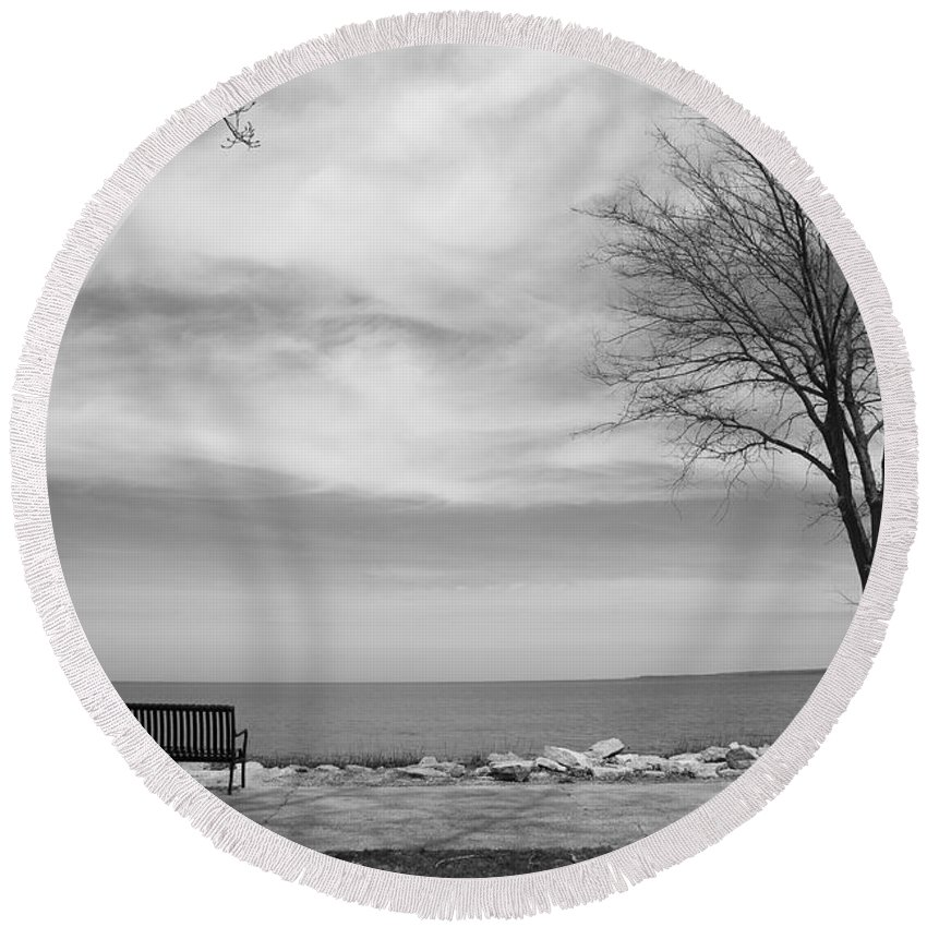 Art Round Beach Towel featuring the photograph Lake Tree And Park Bench by Frank Romeo