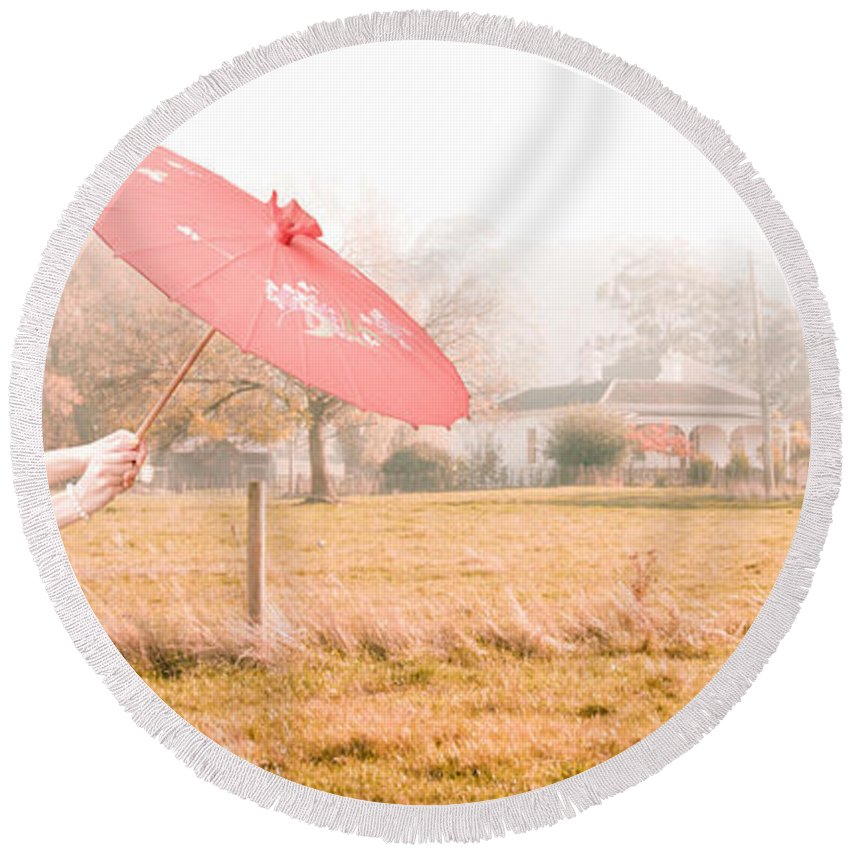 Caucasian Round Beach Towel featuring the photograph Landscape by Jorgo Photography - Wall Art Gallery
