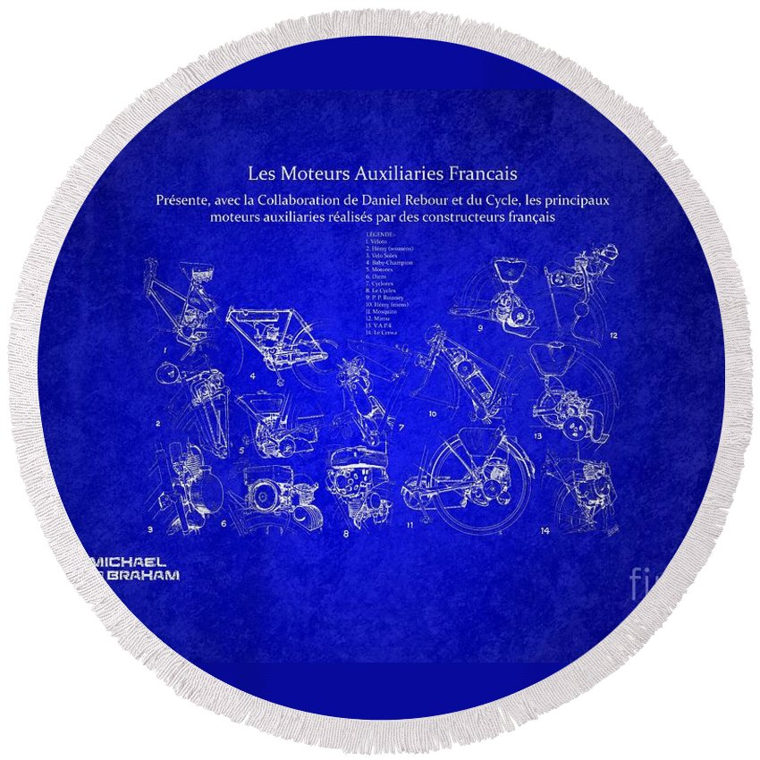 Daniel Rebour Round Beach Towel featuring the photograph Les Moteurs Auxiliaries Francais by Doc Braham