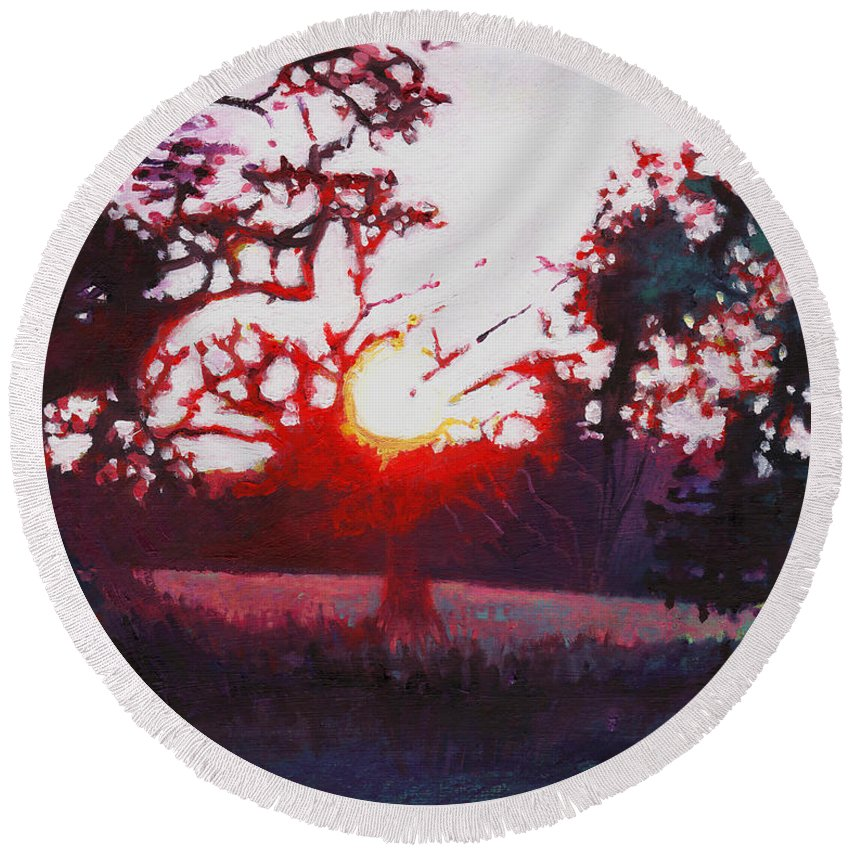 Woods Round Beach Towel featuring the painting Light Grounding by Helen White